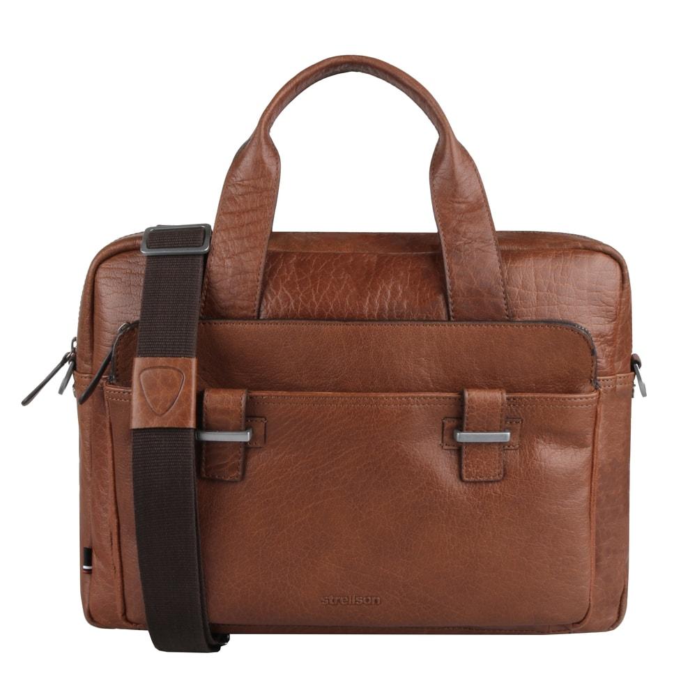 Strellson Pánská kožená taška do ruky Sutton 4010002571 - koňaková