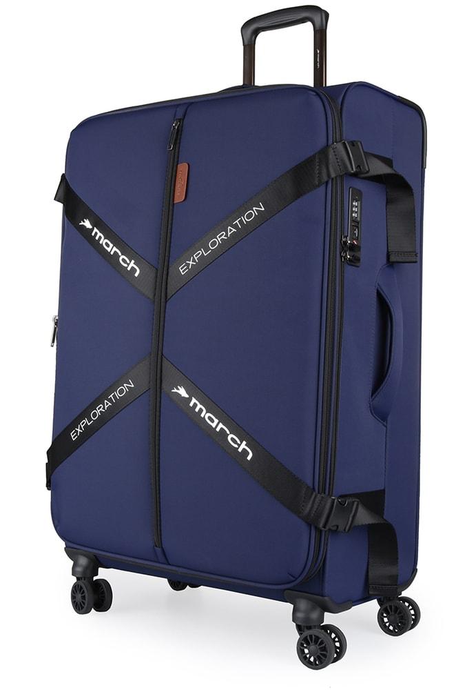 Levně March Látkový cestovní kufr Exploration L 3834 106/120 l - tmavě modrá