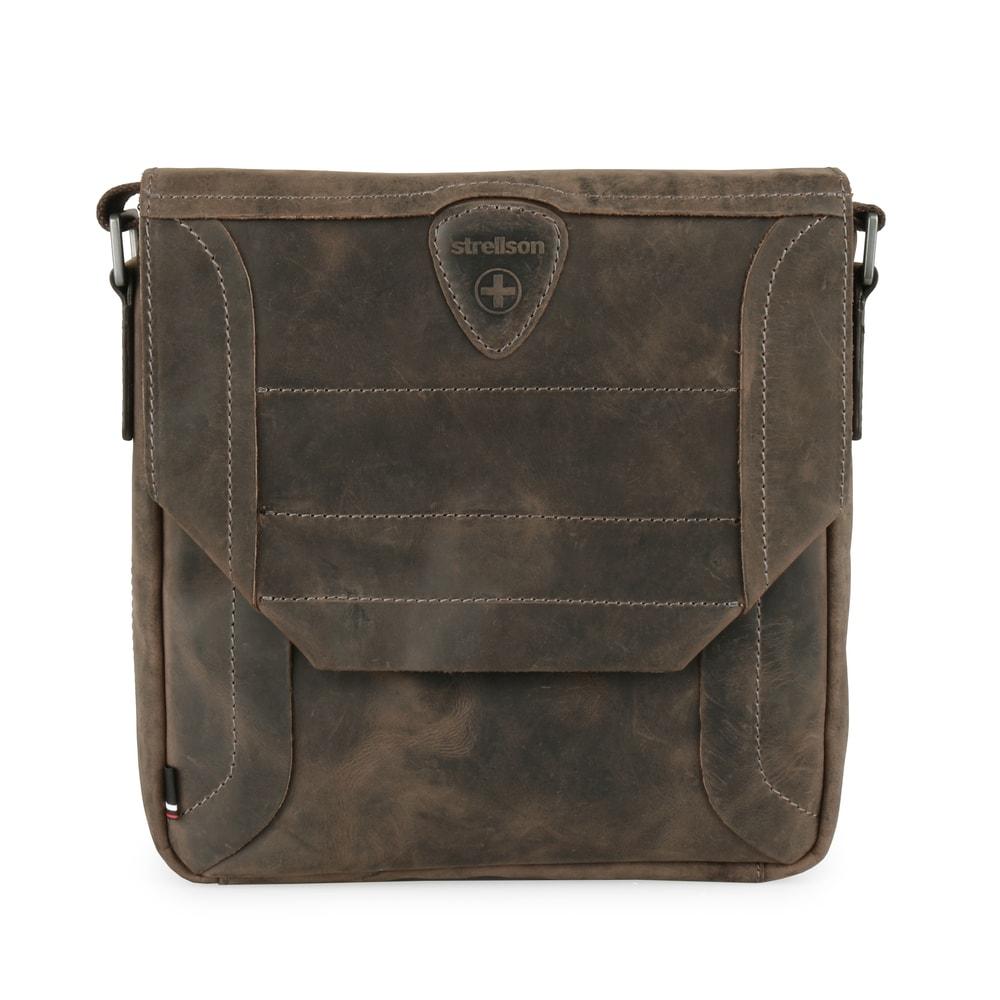 Strellson Pánská kožená taška přes rameno Hunter 4010002562 - tmavě hnědá