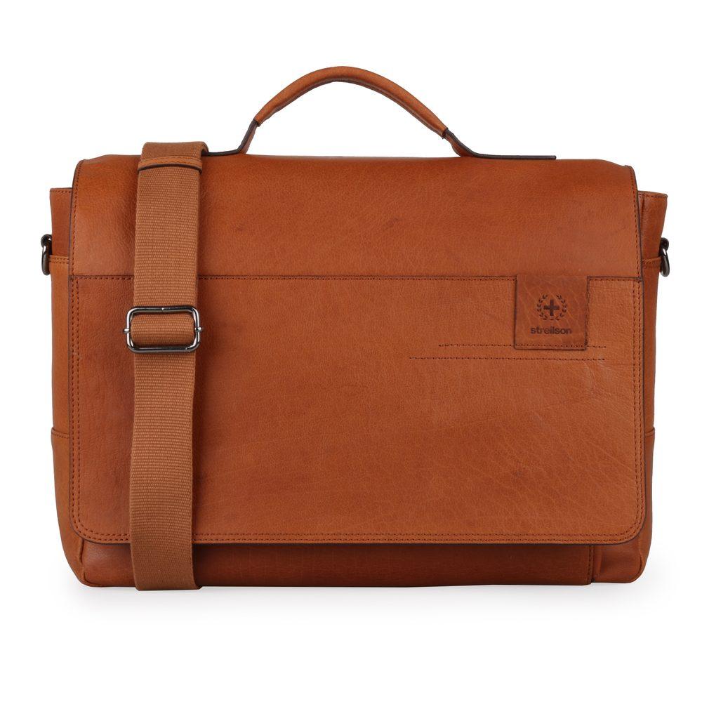 Strellson Pánská kožená taška přes rameno Hyde Park 4010002764 - koňaková