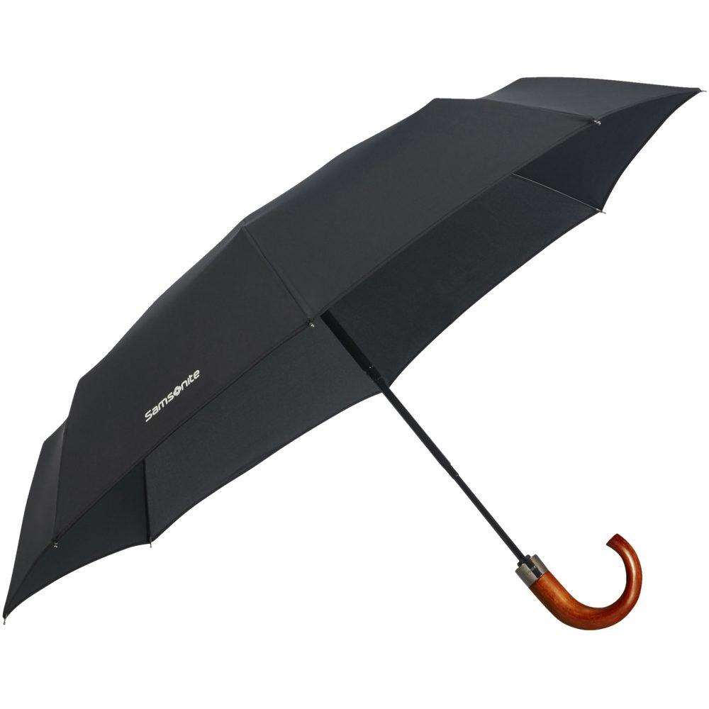 Samsonite Skládací automatický deštník Wood Classic S Crook - černá