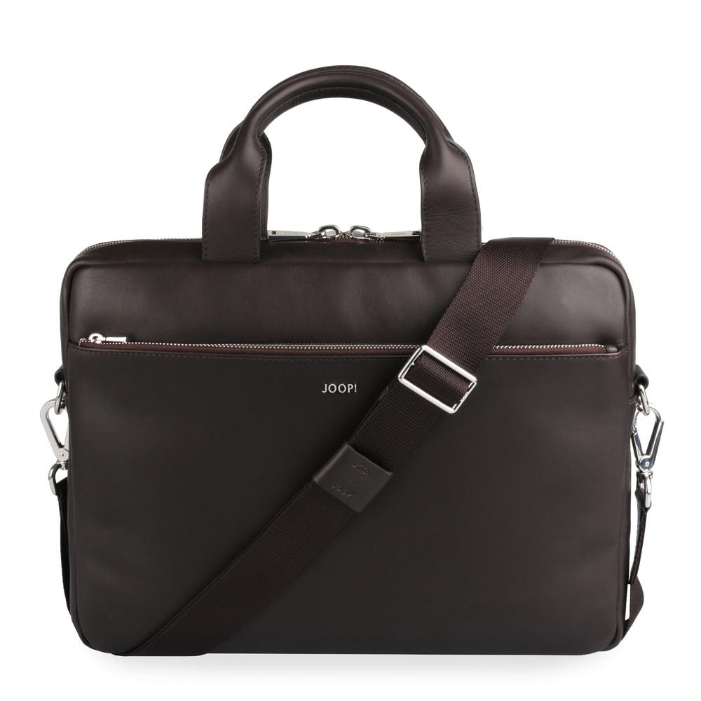 JOOP! Pánská kožená taška na notebook Pandion 14'' 4140004470 - tmavě hnědá
