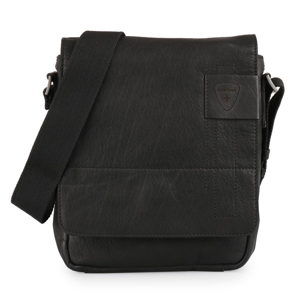 Strellson Pánská kožená taška přes rameno Upminster 4010001926,černá