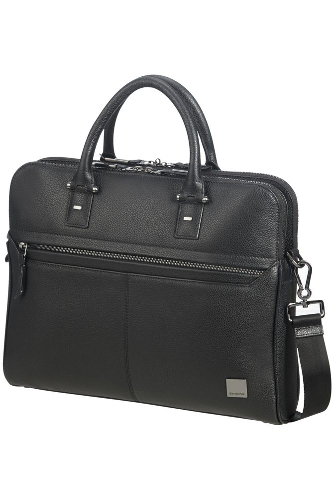 Samsonite Kožená taška na notebook Senzil Slim 14,1'' - černá