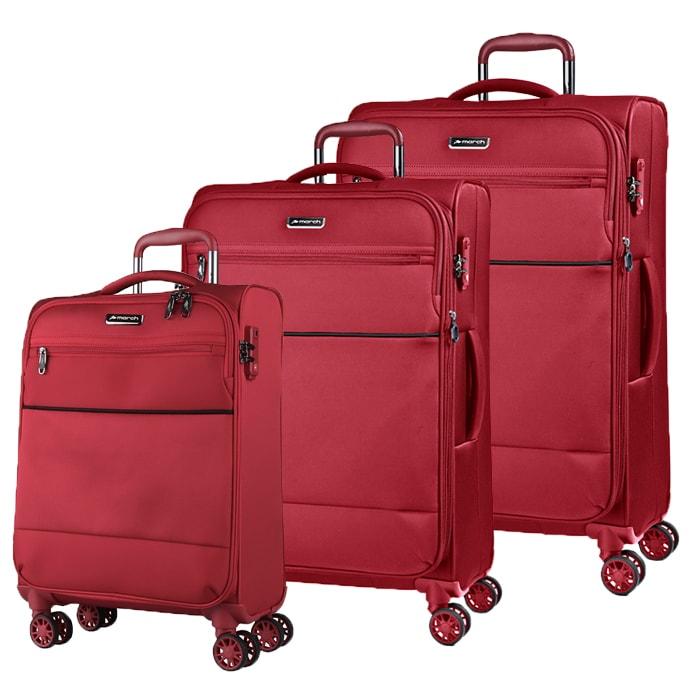 March Sada cestovních kufrů Easy S + M + L, červená
