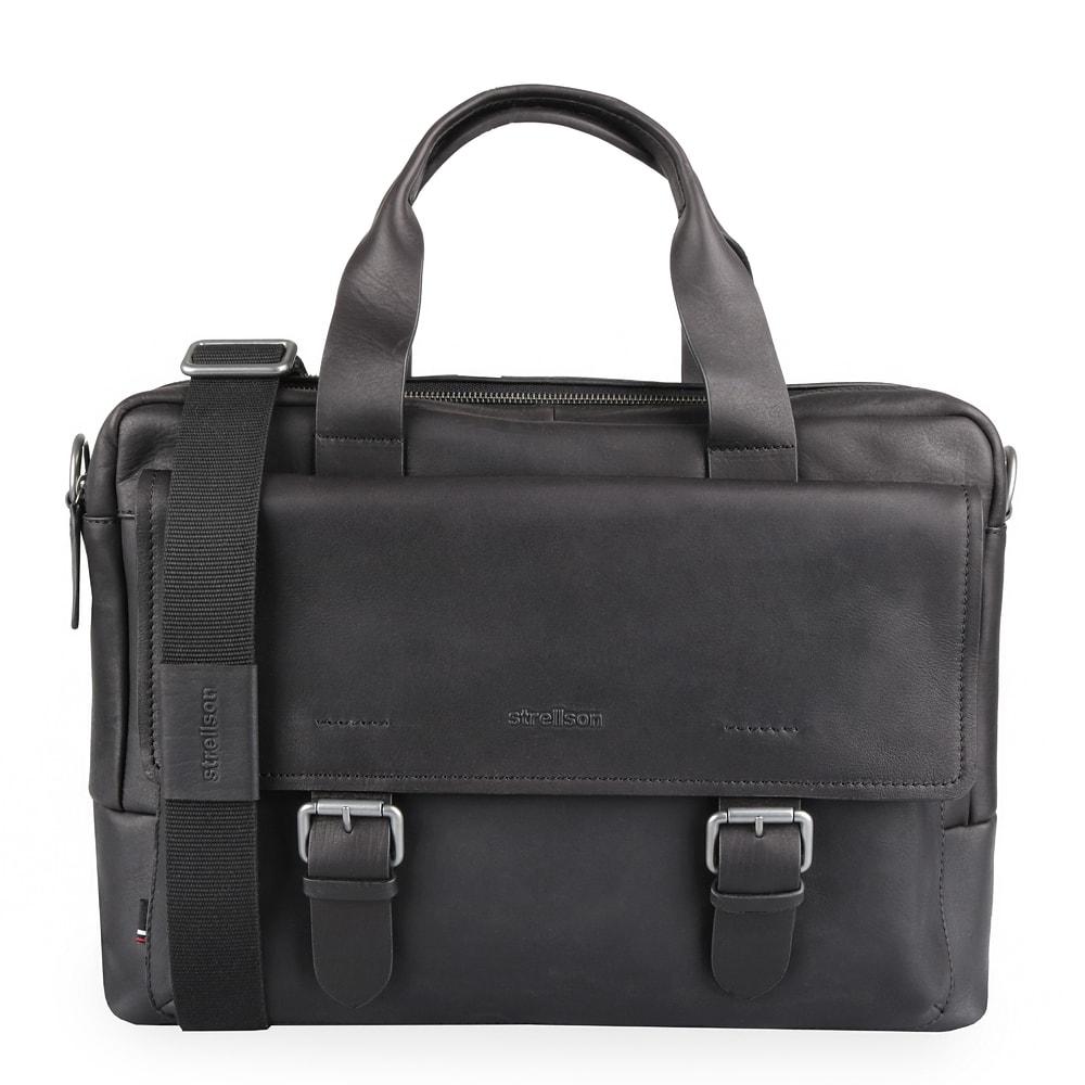 Strellson Pánská kožená taška na notebook Turnham 2 4010002583 - černá