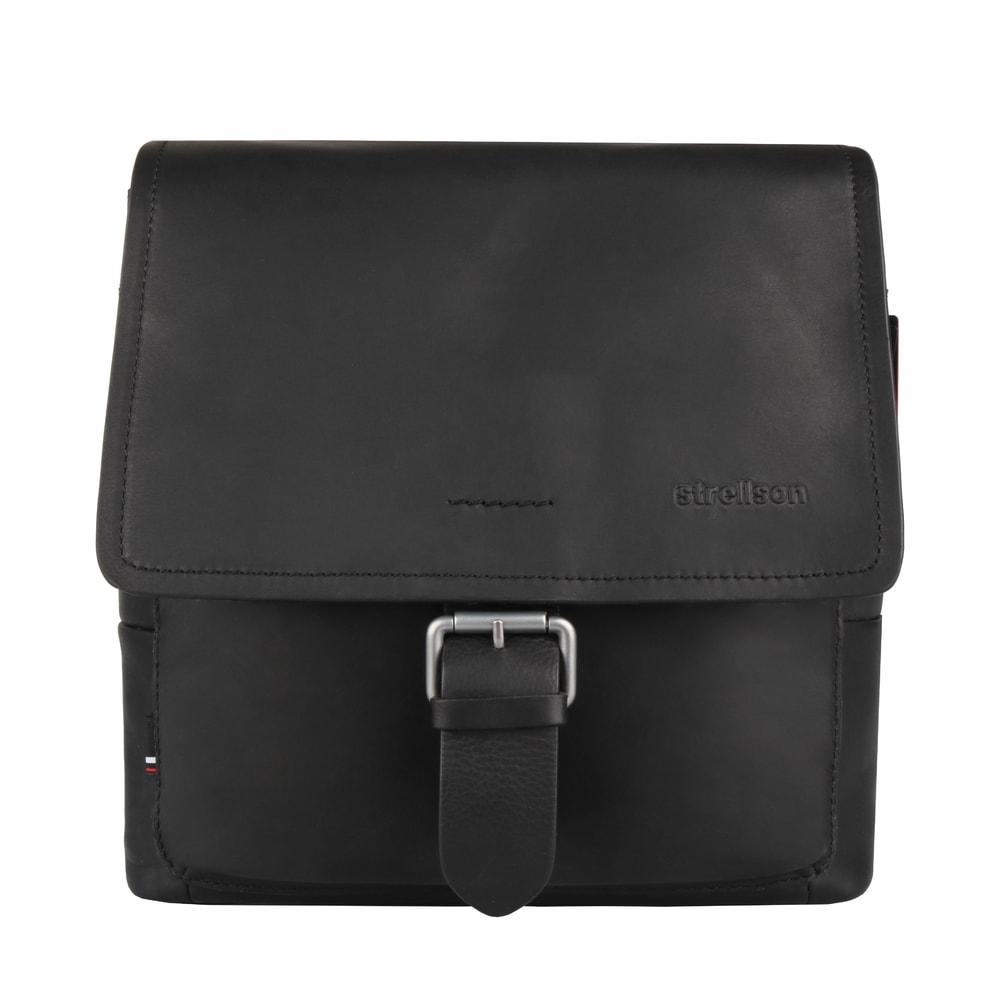 Strellson Pánská kožená taška přes rameno Turnham 2 4010002585 - černá