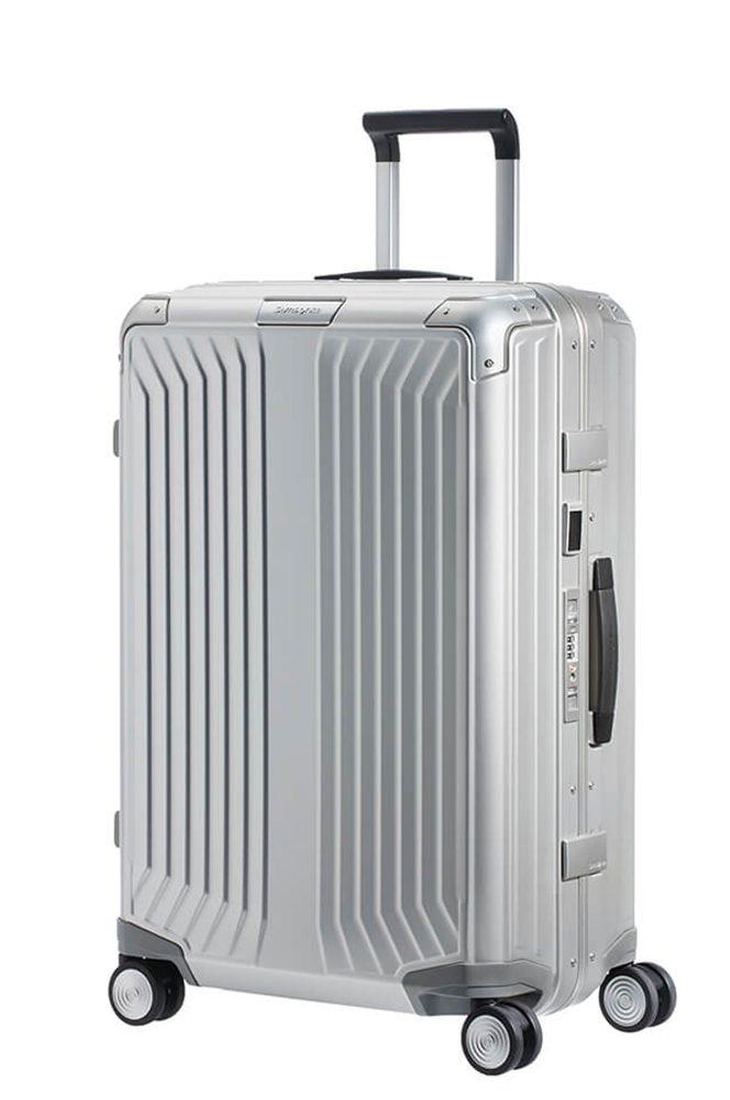 Samsonite Hliníkový cestovní kufr Lite-Box Alu M 71 l - stříbrná