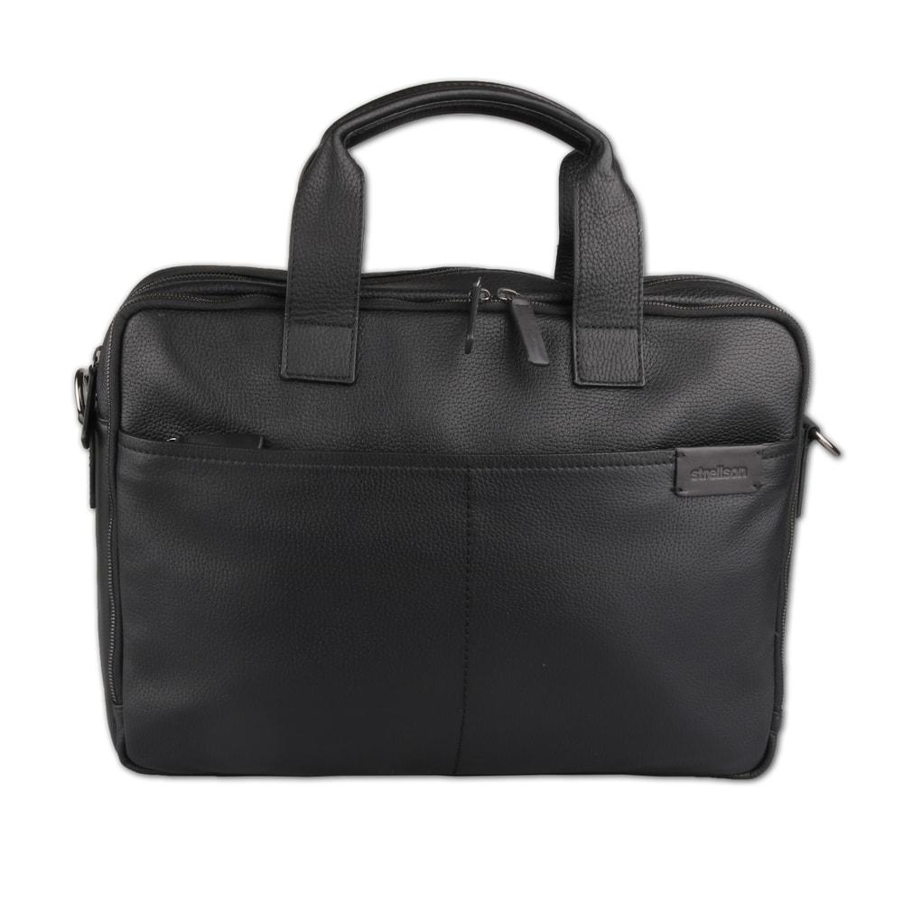 Strellson Pánská kožená taška přes rameno Garret 4010002347 - černá