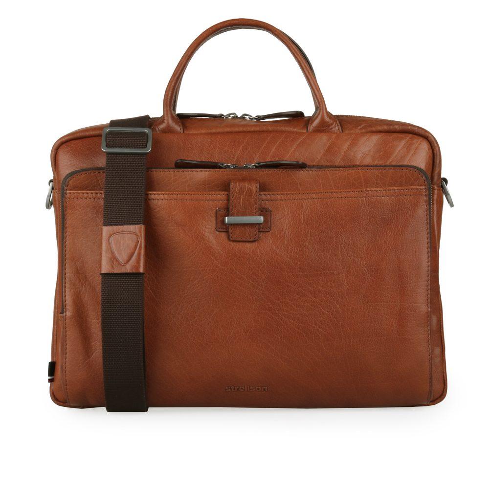 Strellson Pánská kožená taška na notebook Sutton 4010002790 - koňaková