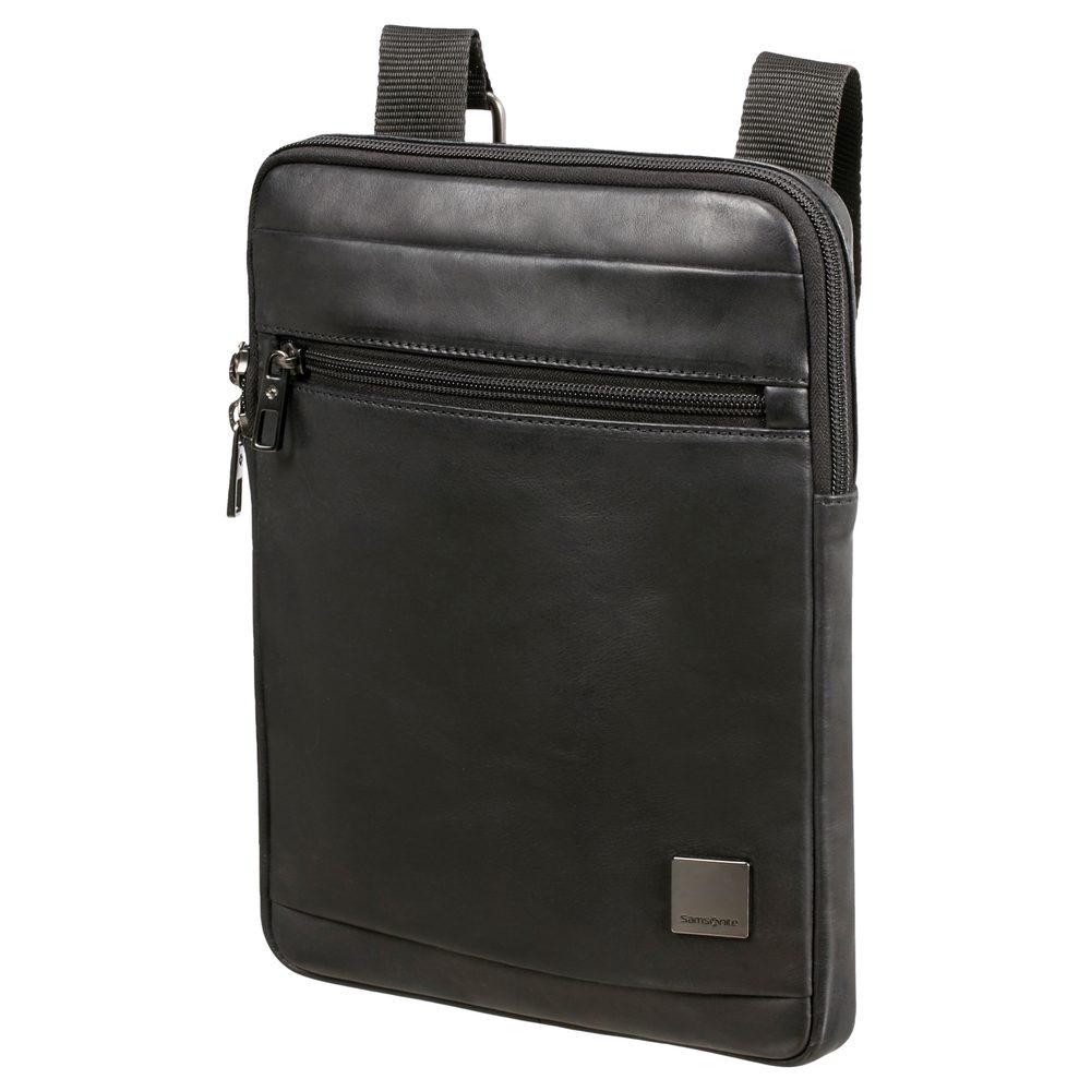 Samsonite Pánská kožená taška přes rameno Hip-Square L 9,7'' - černá