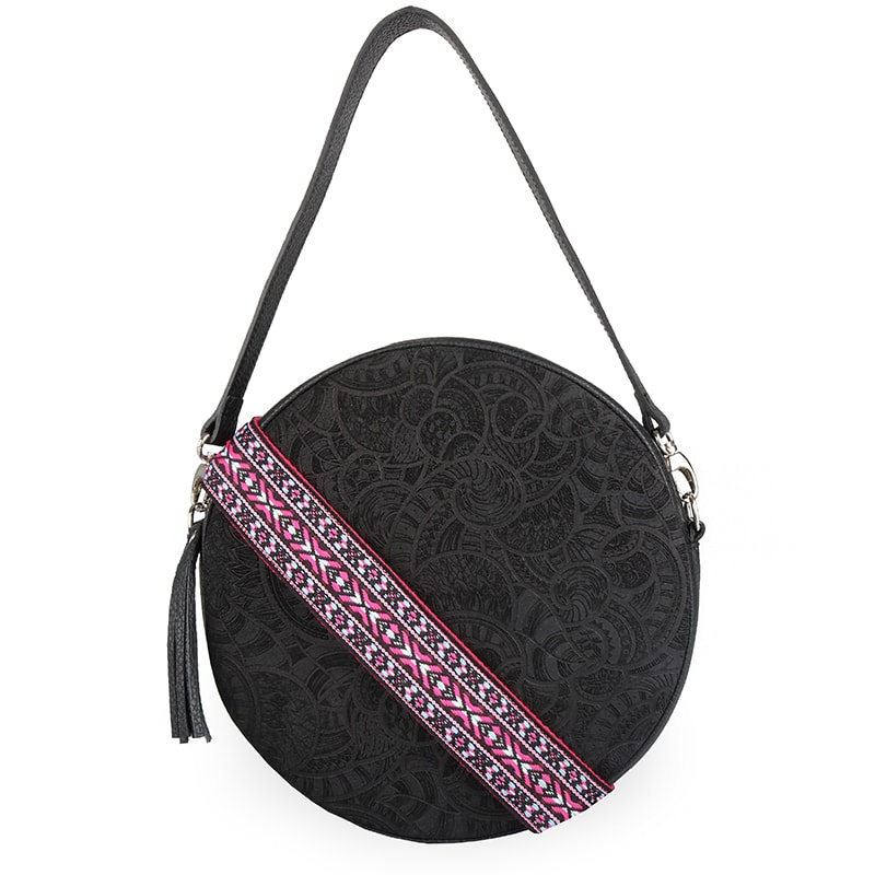 Elega Dámská kožená crossbody kabelka Violet 69413 - černá