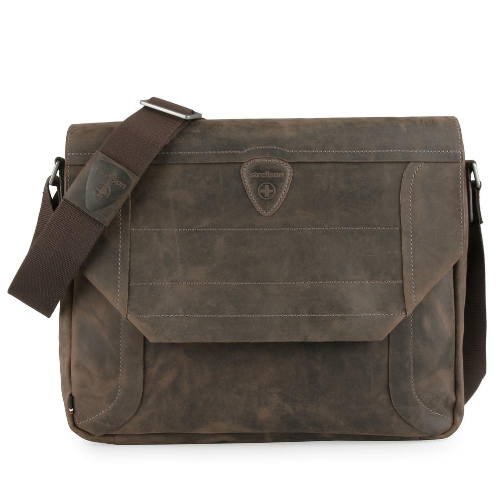 Strellson Pánská kožená taška přes rameno Hunter 4010002561 - tmavě hnědá