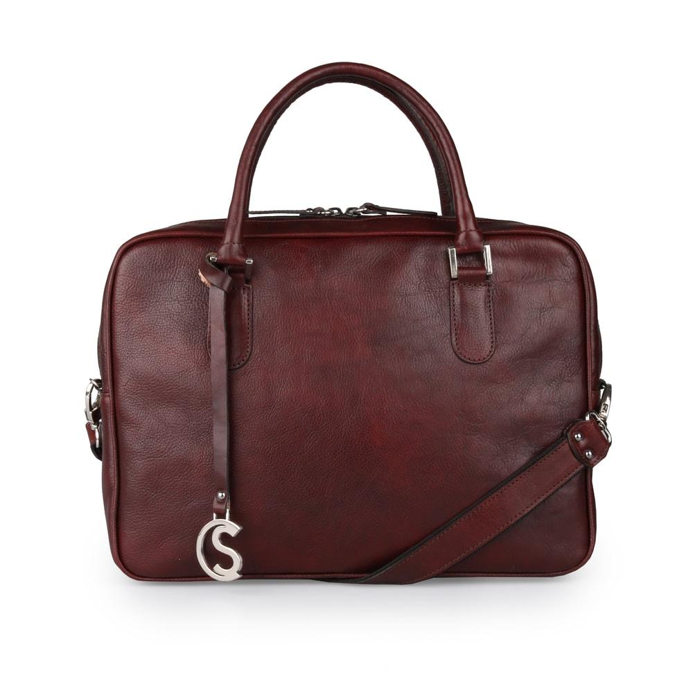 Sněžka Náchod Dámská kožená taška do ruky 5101 - bordo-červená