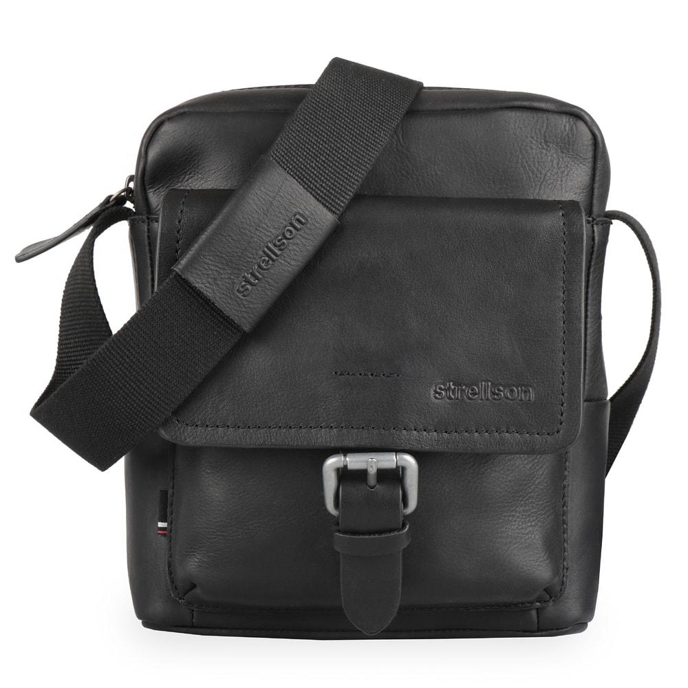Strellson Pánská kožená taška přes rameno Turnham 2 4010002586 - černá