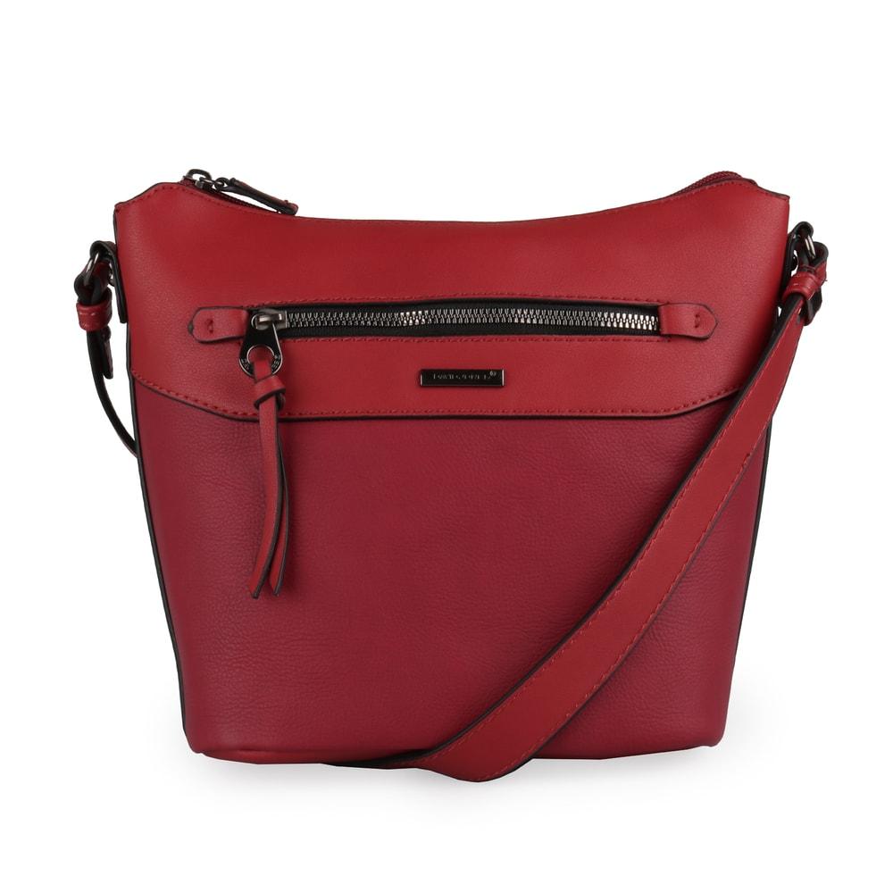 David Jones Paris Dámská crossbody kabelka 6110-2A - tmavě červená