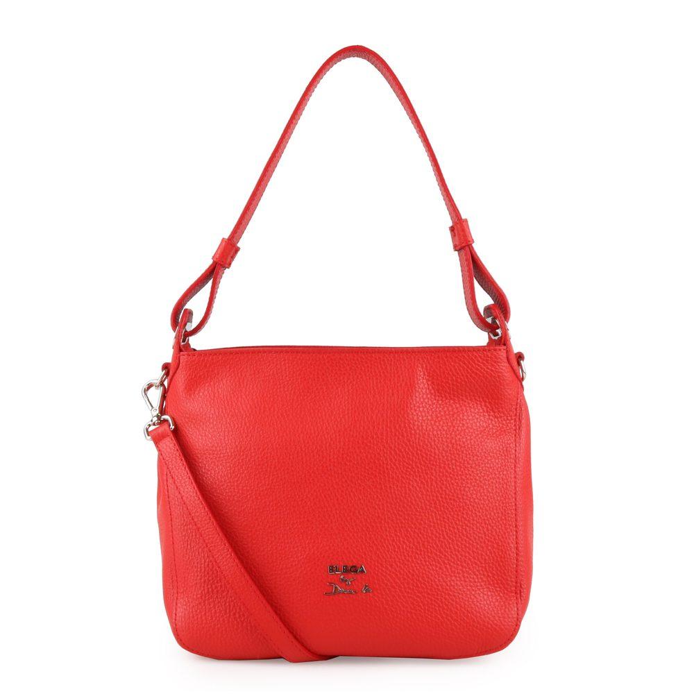Elega by Dana M Dámská kožená kabelka přes rameno Casual 69534 - červená/stříbro
