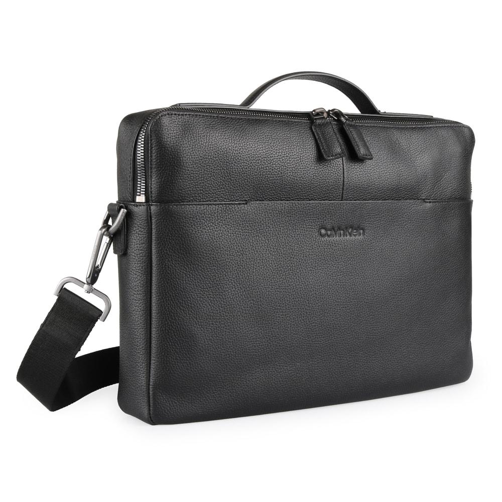 Calvin Klein Pánská kožená taška na notebook Slim K50K504351 - černá