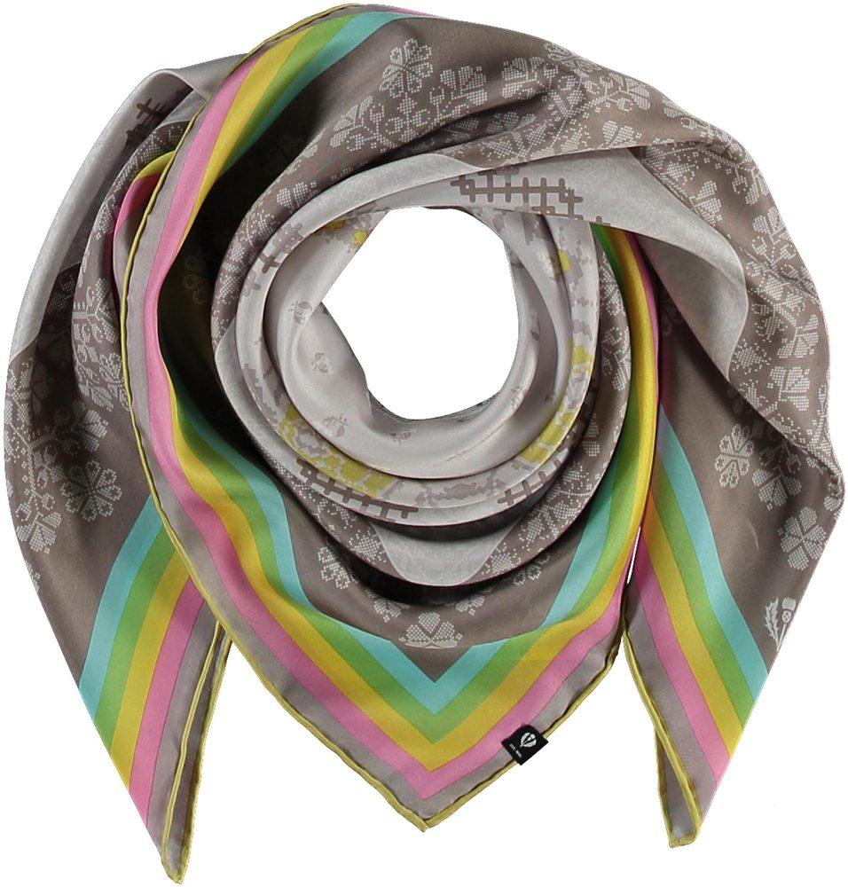 Fraas Dámský hedvábný čtvercový šátek 632008 - taupe