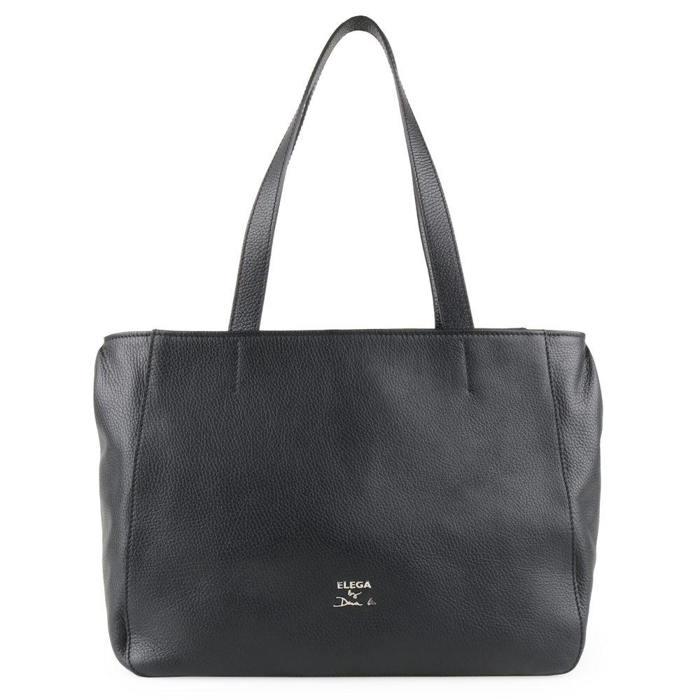 Elega by Dana M Dámská kožená shopper kabelka Casual 69532 - černá/stříbro