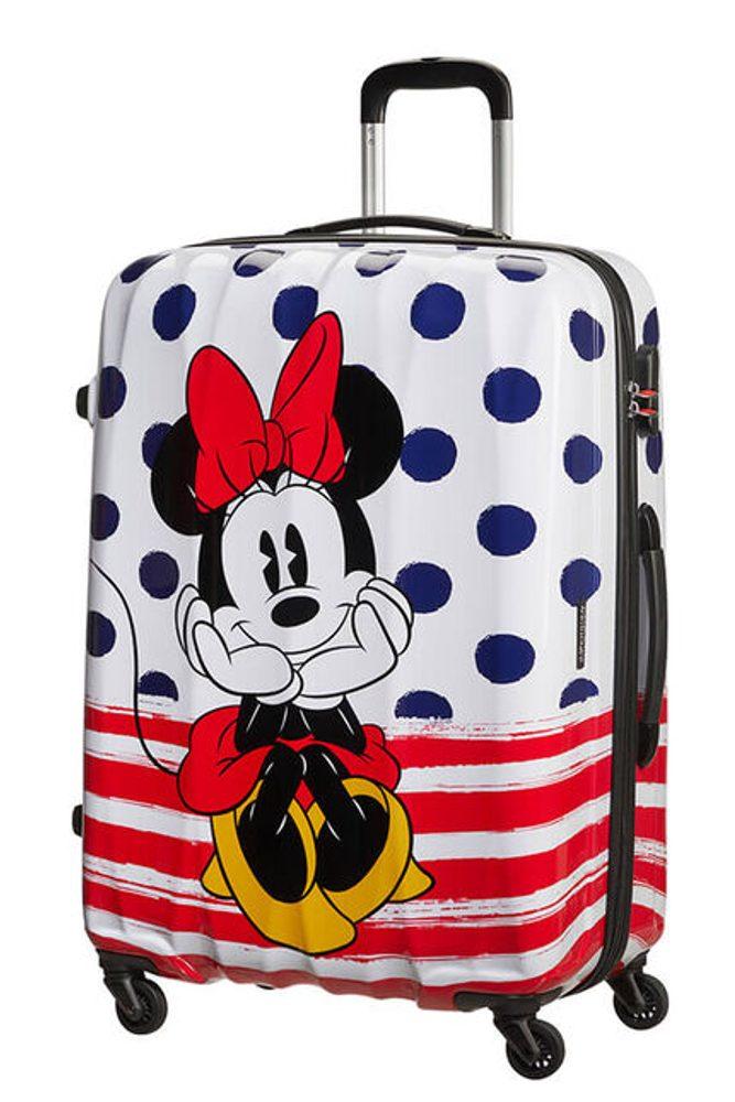 Levně American Tourister Cestovní kufr Disney Legends Spinner 88 l - Minnie Blue Dots