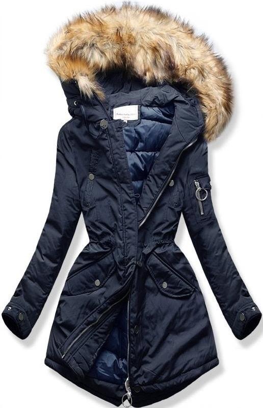 MODOVO Dámska zimná bunda s kapucňou W710 tmavo modrá - XL