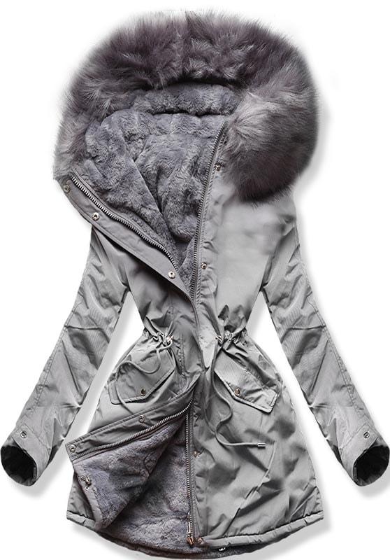 MODOVO Dámska zimná bunda W252 sivá - XS
