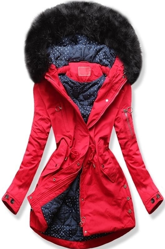 MODOVO Dámska zimná bunda s kapucňou Q32 červená
