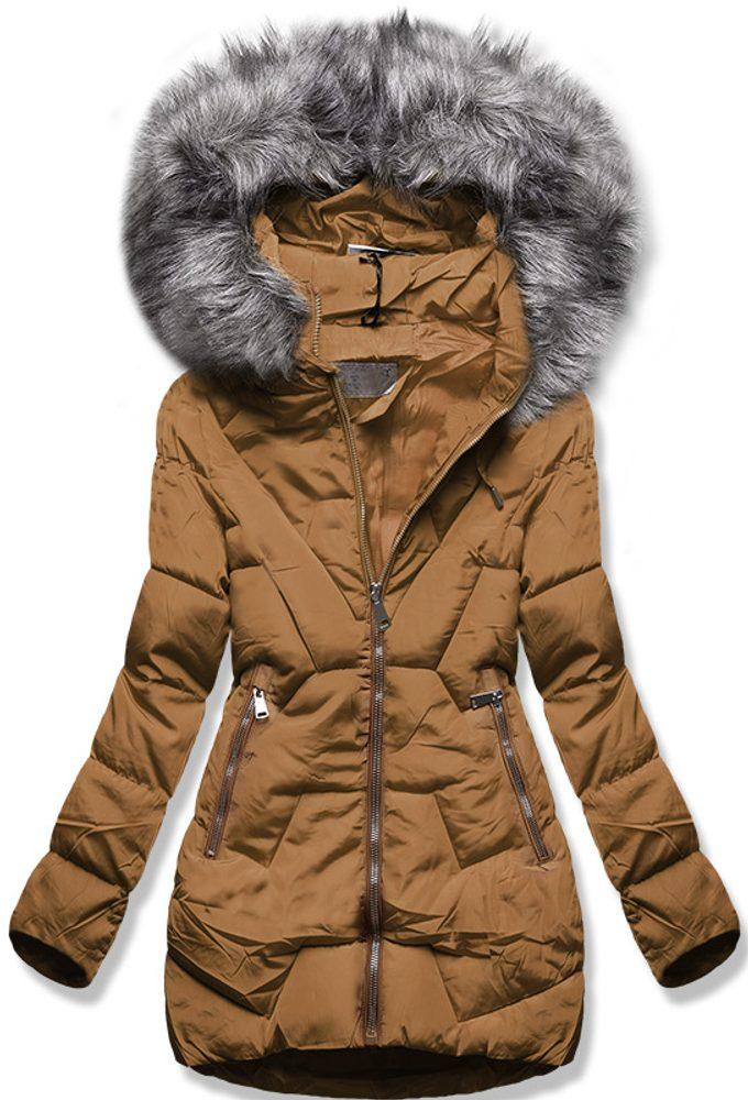 MODOVO Zimní bunda s kapucí hnědá - M
