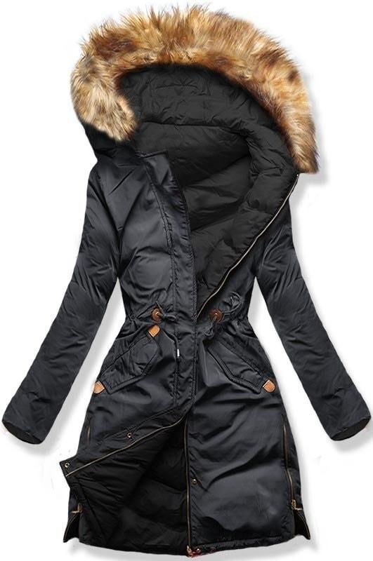 MODOVO Dámska zimná bunda s kapucňou A5 grafitovo-čierna - XL