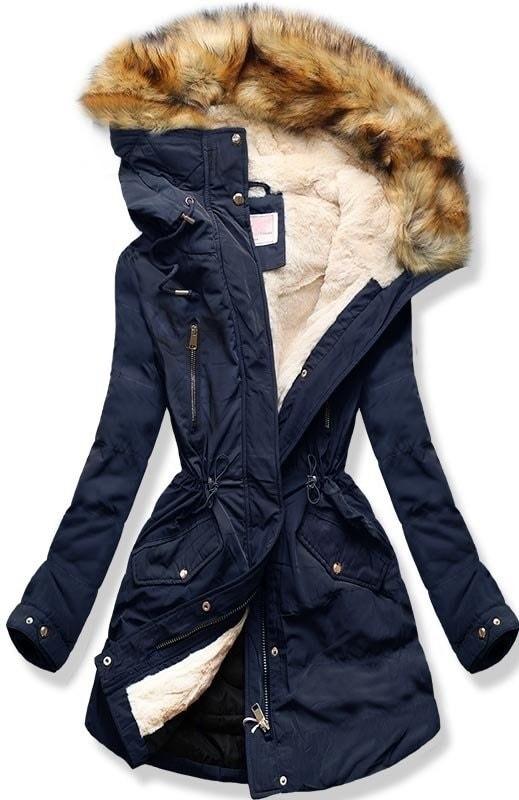 MODOVO Dámska zimná bunda s kapucňou W171 tmavo modrá - L