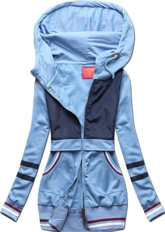 MODOVO Dlouhá dámská mikina s kapucí D425 modrá - L