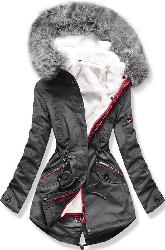 MODOVO Dámska zimná bunda s kapucňou PO-303 grafitová - XL