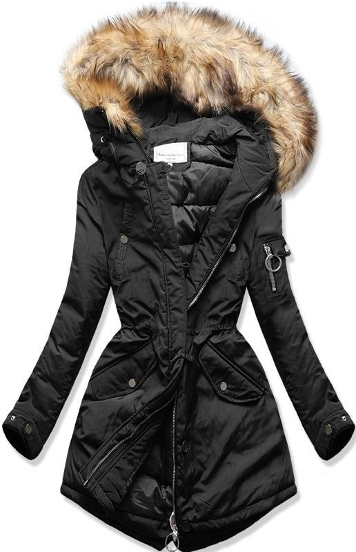 MODOVO Dámska zimná bunda s kapucňou W710 čierna