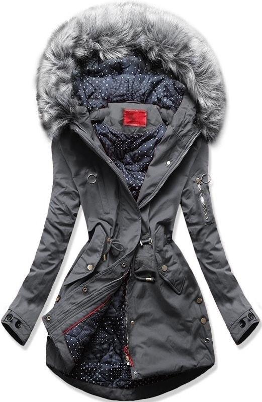 MODOVO Dámska zimná bunda s kapucňou Q32 grafitová