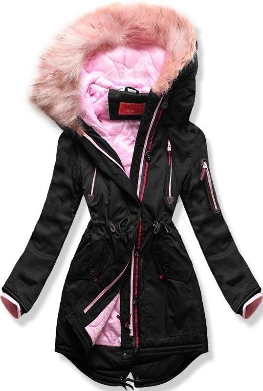 MODOVO Dámska zimná bunda s kapucňou PO-301 čierna - XL