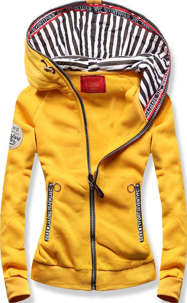 MODOVO Mikina s pruhovanou podšívkou žltá - XL