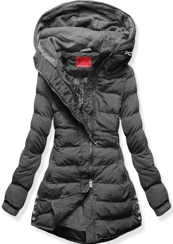 MODOVO Dámska zimná bunda s kapucňou S603 grafitová