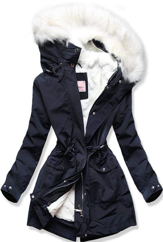 MODOVO Dámska zimná bunda W256 tmavomodrá - XS