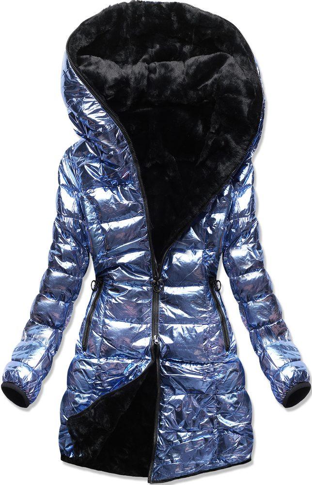 MODOVO Zimná oboustranná bunda perleťově-modrá