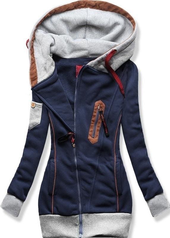 MODOVO Dlouhá dámská mikina s kapucí D550 tmavě modrá