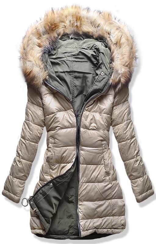 MODOVO Dámska zimná obojstranná bunda W-707 béžová-khaki