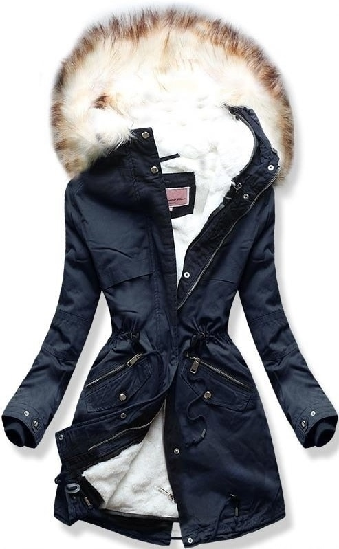 Dámska zimná bunda s kapucňou W166 tmavo modrá
