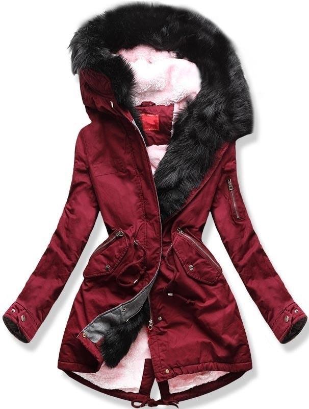 MODOVO Dámska zimná bunda s kapucňou B-735 bordová - XL