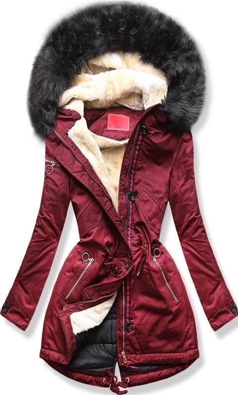 MODOVO Dámska zimná bunda s kapucňou PO-307 bordová - XL