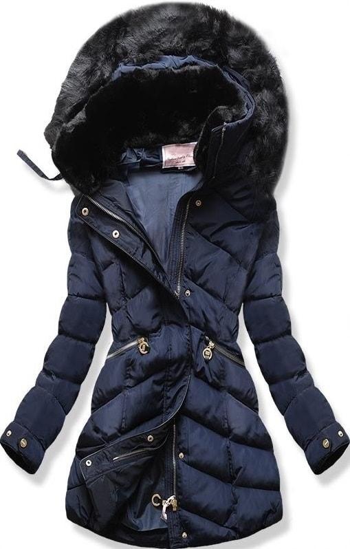 MODOVO Dámska zimná bunda s kapucňou W732 tmavo modrá - XL