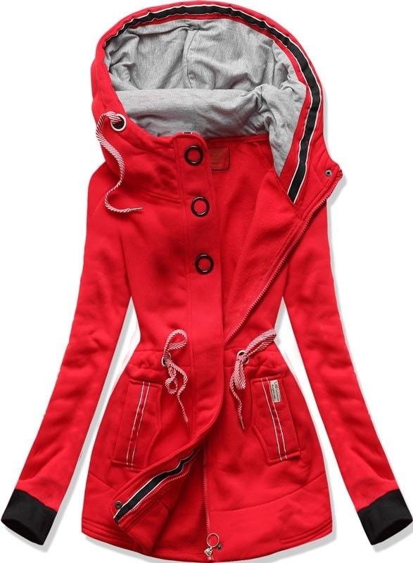 MODOVO Dlouhá dámská mikina s kapucí D543 červená - L
