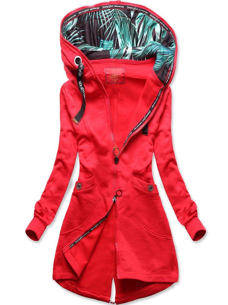 MODOVO Dámska predĺžená mikina s kapucňou červená - XL