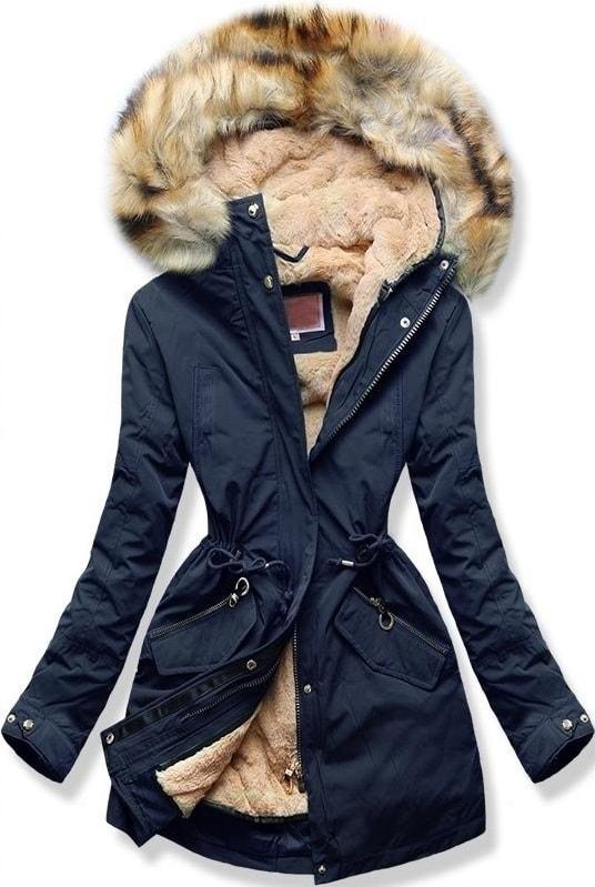 MODOVO Dámska zimná bunda s kapucňou W164 tmavo modrá - XL