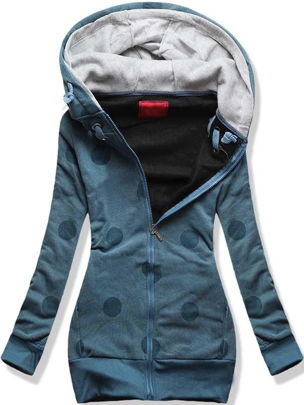 MODOVO Dlouhá dámská mikina s kapucí D380 modrá
